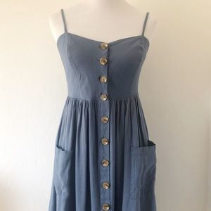 MOD REF ROXANNE BLUE LINEN BLEND DRESS MEDIUM
